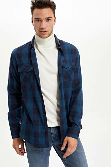 DeFacto Kareli Uzun Kollu Slim Fit Gömlek Yeşil